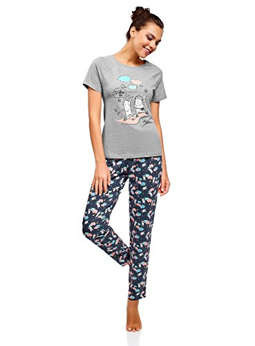 Mujer Pijama De Algodon Con Pantalones Pijamas Es